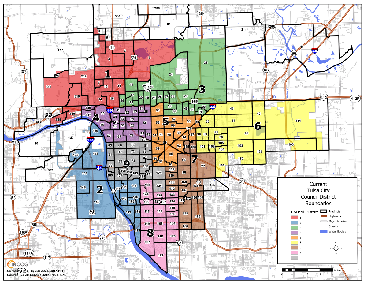 Map of Current Tulsa City Council Districts. Click to view a PDF.
