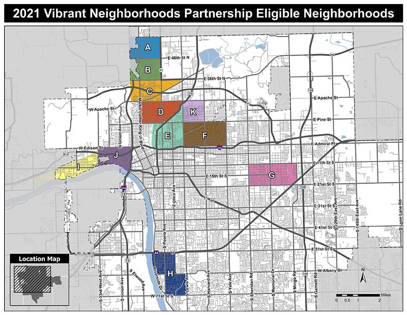 Map of Neighborhoods Eligible for the Vibrant Neighborhoods Partnership