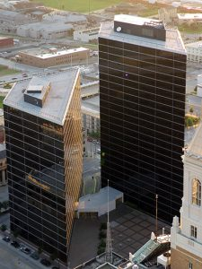 View of Williams Towers 1 and 2. Tulsa Planning Office is located in Tower 2.
