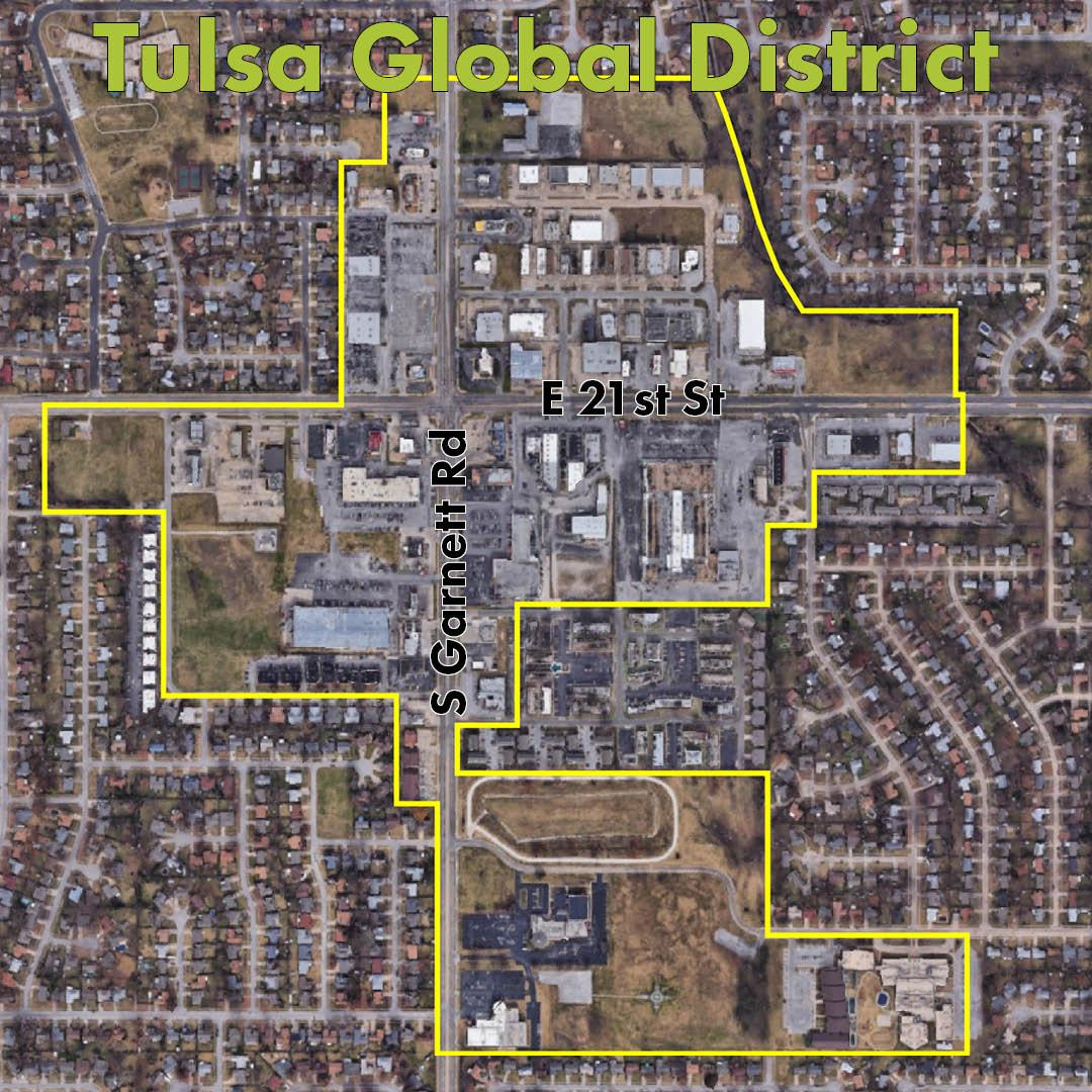 Map showing the location of the Tulsa Global District
