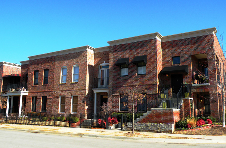 Townhomes, like these at Centennial Park, are allowed in mixed-use districts.