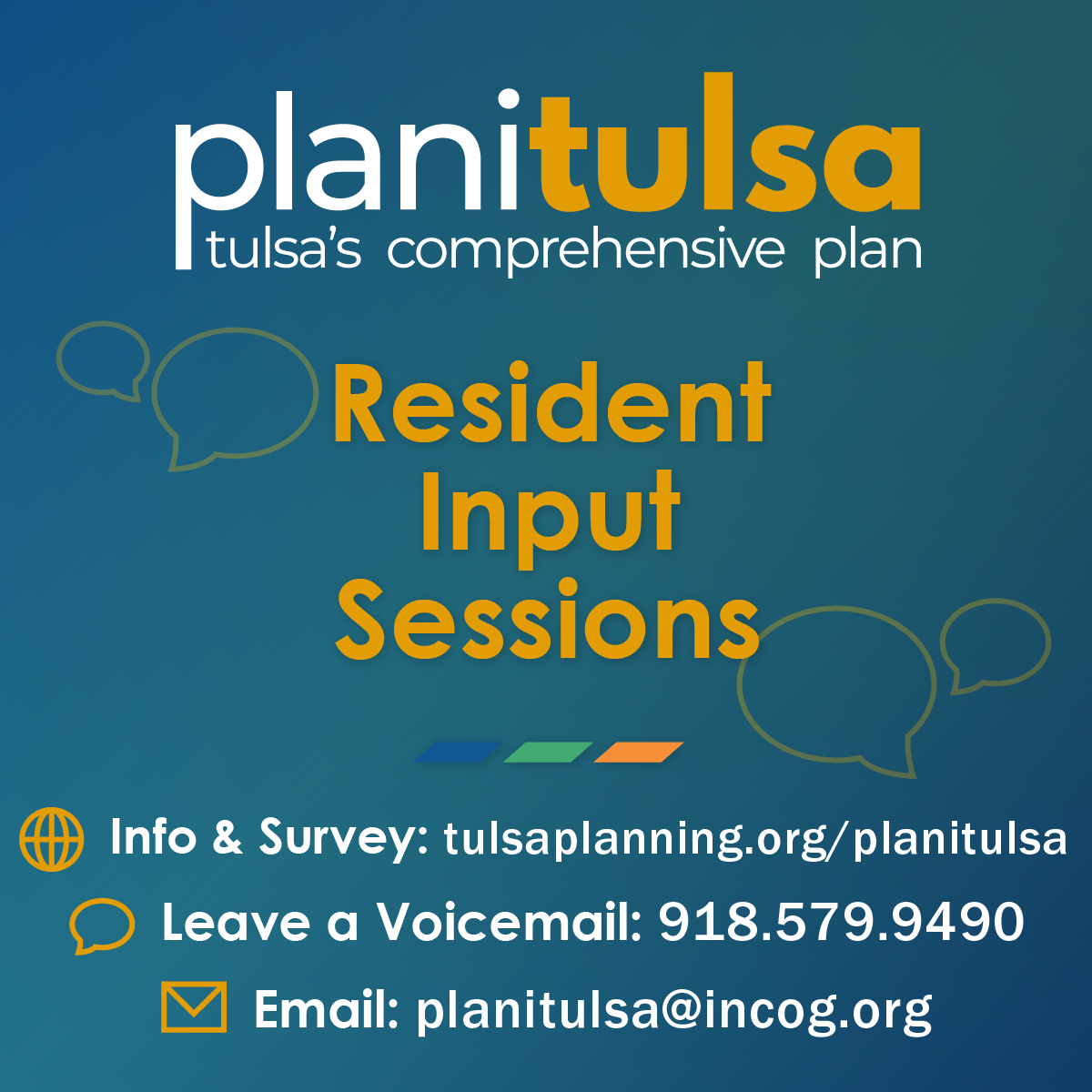 Provide input into the update of planitulsa, the City's comprehensive plan.