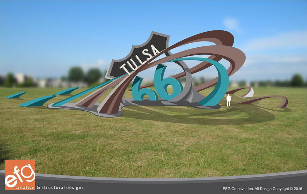 Conceptual drawing of the Tulsa Route 66 Rising sculpture